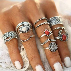 New Vintage Red And White Turquoise Stone Rings